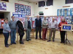 Harston history Group volunteers set up website launch exhibition Nov 2015