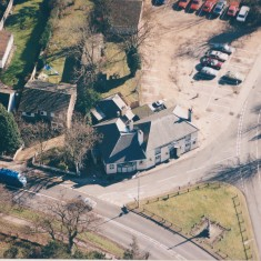 1997. No 2 Pemberton Arms, aerial view.Note garages have been moved back. | (Deacon)
