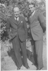 POW Hans with Val's dad Mr Hartshorn in garden of 5 High St (now 48 after renumbering)