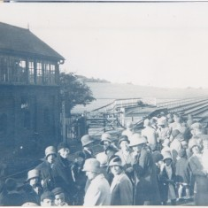 14 August 1930. Station platform. Signal box and cattle loading ramp on left. Goods shed on right. | (Deacon)
