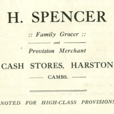 1923 advert for Spencer family grocer at 28 High St | (VH archives)