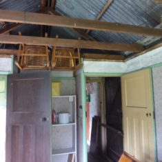 Inside The Hut showing access between the two rooms & old door to kitchen April 2017 | (Roadley)