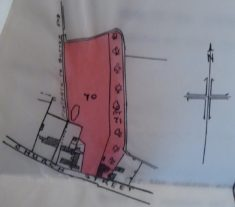 1925 map showing cottages on church St to right of pink area