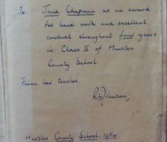 Jane Chapman school prize of bible 1954