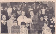 Paul Saunders, Jane Pevley, Brian Williamson with Harston Youth Club fundraised £300 for Addenbrookes scanner 1981