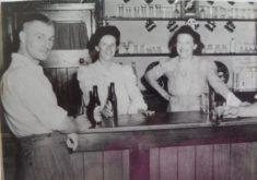 to right Lil Nicholls in Pem Arms, + eldest daug Olive centre + Olive's husband Ernest Morgan