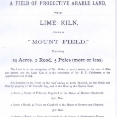 Sales advert for lime kiln on Maggot's Mount 1893 | (Deacon)