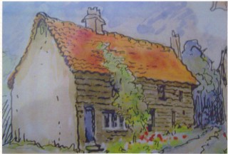 Oddfellows Cottages, Green Man Lane used by scouts | (Deacon- part of Mary Greene painting)