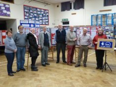 Harston history Group volunteers set up website launch exhibition Nov 2015