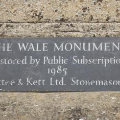 Inscription on Wale monument 2015   (Roadley)