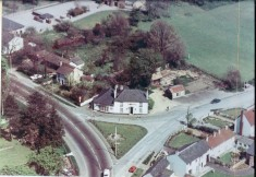Date unknown. aerial view of No 2 Pemberton Arms facing War Memorial Green in centre, High St to left, Station Rd to right.