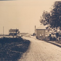 Date unknown. Harston station & signal box on left, station house on right. | (Deacon)