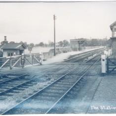 1935. Station platform & signal box. Note, still full gates! | (Deacon)