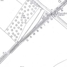 Location of old Harston Station sidings & goods yard shown on 1901 OS map