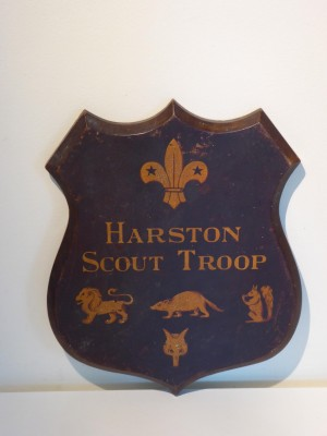 Scouts shield showing 1935 patrols Lion, Beaver, Squirrell, Fox