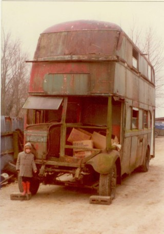 Jill Thorne's bus 1980s, Willow Farm, Button End; Gemma Bates in front | (Bates)