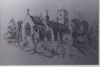Harston church by Marian F Allen 1970 | (Deacon)