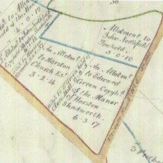 1799 Inclosure map showing position of Pinder's Land on London Road | (Cambridge Archives)