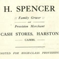 1923 advert for Spencer family grocer at 28 High St | (VH archives)