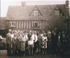 Bisseker family gathering in front of Old House. Doris 3rd from left