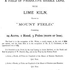 Sale of land & lime kiln at Maggot's Mount
