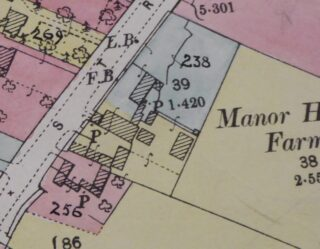 1910 land use evaluation map showing Old Manor house (CRO)