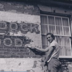 Andy Bowden reveals the Green Man writing on pub wall | (Deacon)