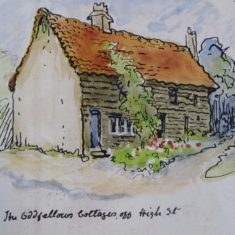 Oddfellows cottages by Mary Greene pre 1927- building to left behind No 49 high St | (Roadley)