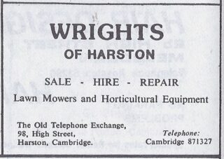 1986 advert for Wrights lawn mowers   (Drifts Mag vol 2)