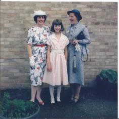 Mrs Pluck & Mrs Askham & Helen presenting Save Children cheque 1985