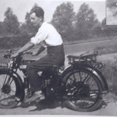 In 1920s Ted Austin on his motorcycle. He worked on Manor Farm, Foxton Rd. He died in 1992 age 87 | (Deacon)
