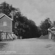 Looking west to Harston with Station house to left; 1906 postcard | (Stocker)