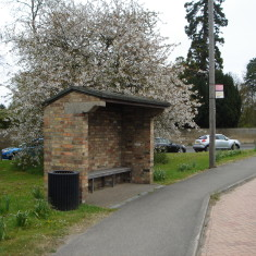 Bus Stop A10 Swan Green 2015. Built by Parish Council about 1973. | (Griffin)