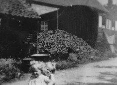 1930s-40s Sheds separated from railway carriage by coal heap, Trigg Farm