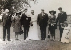 John Wick's wedding 1972: Grandad John Hall, mum Muriel, John, wife Cynthia, dad Jim, sister-in-law Janet, bro' Peter, nephew Chris & niece Jo in front