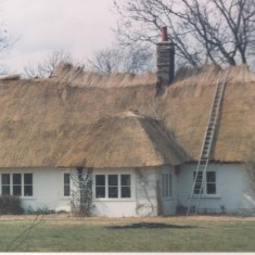 Front of No 107 High St being re-thatched about 1990s   (Deacon)