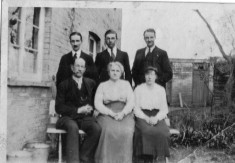 Church St, Harston 1920. Back row: William Newling, Arthur(tbc), Robert Ransom Newling; Front: Frederick, wife Rose, Alice Pointing (Robert's future wife)