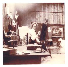 Mary Greene in her studio in Harston House grounds