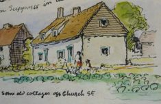 Pantile Cottages painting by Mary Greene pre 1950