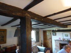 Pantile Cottage, 12 Church St - old beams in dining room-right cottage side 2017