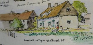 Mary Greene painting of Pantile Cottage & other lost cottages   Cambridge Collection