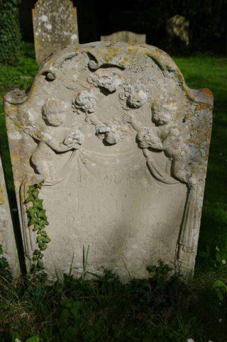 Gravestone of Frances Walen ee Dickman, daughter of Edmund Dickman, Harston parish churchyard | (Roadley)