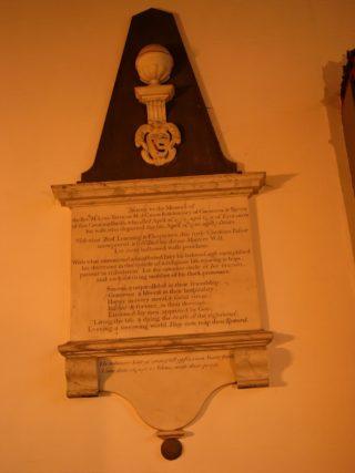 Memorial to Luke Trevigar in All Saints church, Hurstmonceux