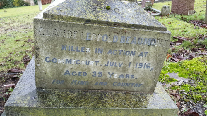 CL Beaumont memorial on family gravestone, St Andrews, Cherry Hinton | (Sturon)