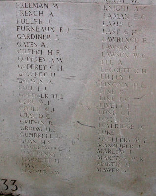 Edward Claridge Laman on Menin Gate memorial | (CWGC)