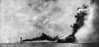 Queen Mary sinking at Battle of Jutland