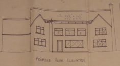 1969 plans removing back chimney and extending across the back with flat roof extension