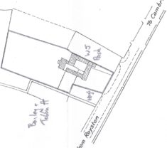 1919 plan of 25 High St showing house , outbuildings & old barn added behind