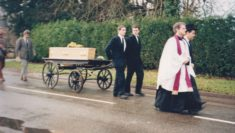 John Parr leading funeral procession 1996