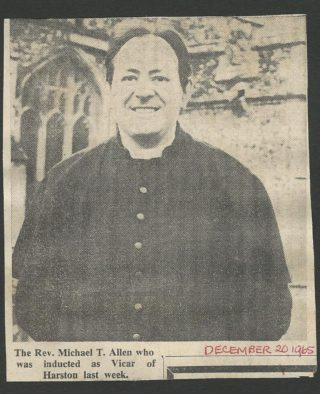 Rev Michael Allen, vicar of Harston | (WI Scrapbook)